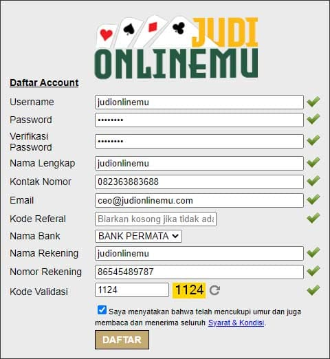 Form Daftar PKV Games