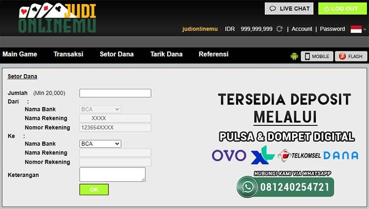 Form Deposit PKV Games Online